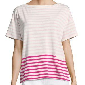 Vineyard Vines Pink Colorblock Stripe Crew Blouse